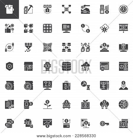 Cryptocurrency And Fintech Vector Icons Set, Solid Symbol Collection, Pictogram Pack. Signs, Logo Il