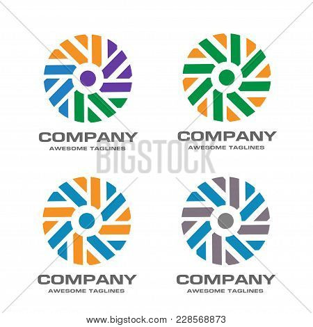 Windmill Vector Logo Design Template, Wave Icon, Abstract Strips Color Circle Spiral Sign, Twist Sym