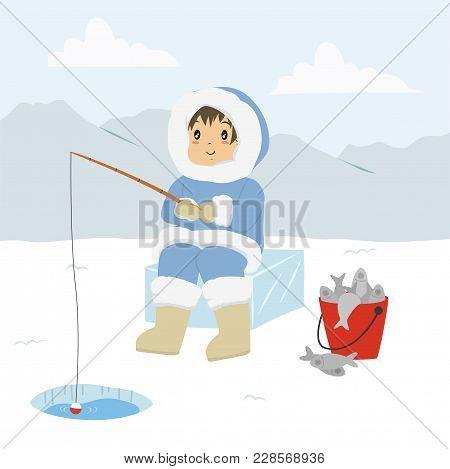 Eskimo Man Fishing Through The Ice Hole, And A Bucket Full Of Fishes. Eskimo Fishing Cartoon Vector