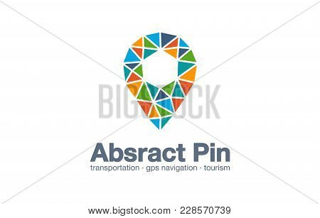 Abstract Business Company Logo. Corporate Identity Design Element. Map Pin, Gps Navigation Marker Lo