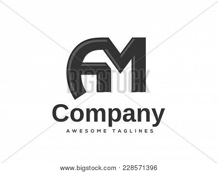 Creative Letter AM Logo Design Template Elements Simple LogoBusiness Corporate Vector And Clean Flat