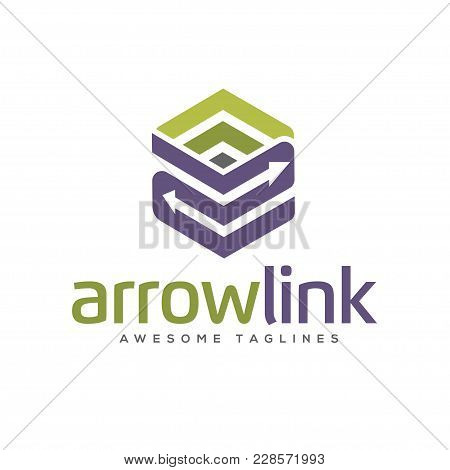 Arrows Link Box Logo, 3d Arrow Link Business Logo Concept Illustration, Abstract Cube Arrows, Busine