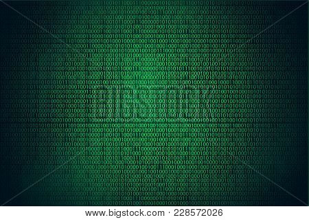 Binary Code Hacker Green Background, Coding Or Hacker Concept.