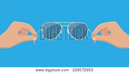 Aviator Sunglasses In Hand. Protective Eyewear. Vector Illustration In Flat Style