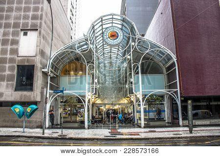 Curitiba, Brazil, December 29, 2017. People Visit 24 Hours Street, Gallery Opened In 1992, Is Open T