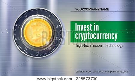 Poster For Banking Services. Safe Lock With Crypto Currency Coin Of Bitcoin With Metal Surface With