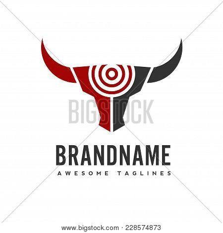 Bull Head Target Vector Logo Concept Illustration, Buffalo Head Target Logo, Bull Hunter Logo. Bull