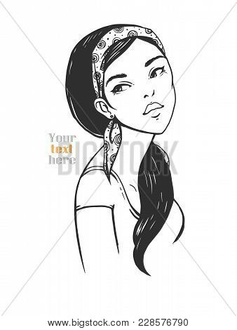 Young Woman With A Bandage On Her Head. Vector Illustration