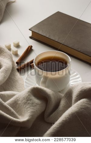 Cup With Coffee, Scarf, Book On The White Background