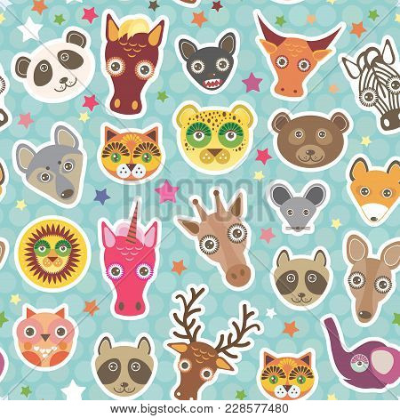 Funny Animals Seamless Pattern On Light Blue Polka Dot Background. Lion, Kangaroo, Horse, Bear, Mous