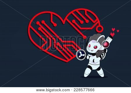 Funny Bot Cupid. Postcard To The Day Of The Holy Valentine. Vector Illustration