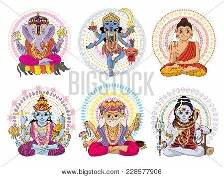 Indian God Vector Hinduism Godhead Of Goddess And Godlike Idol Ganesha In India Illustration Set Of