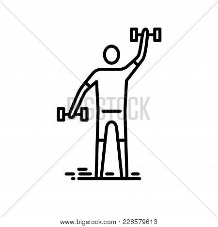 Thin Line Icon. Man Exercising With Bumbbell.