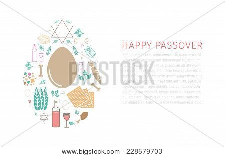 Passover Seder Poster. Line Icons Set. Vector Signs For Web Graphics.