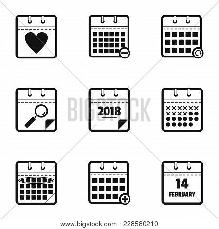 Chronological Table Icons Set. Simple Set Of 9 Chronological Table Vector Icons For Web Isolated On