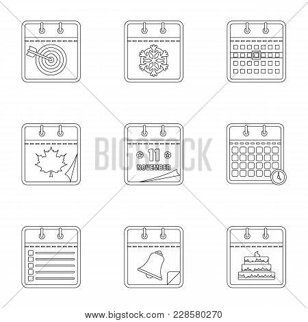 Daily Journal Icons Set. Outline Set Of 9 Daily Journal Vector Icons For Web Isolated On White Backg