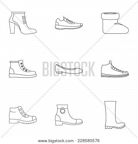 Shoe Collection Icons Set. Outline Set Of 9 Shoe Collection Vector Icons For Web Isolated On White B
