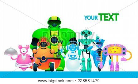 Group Of Toy Bots. Funny Mechanical Robots. Vector Illustration