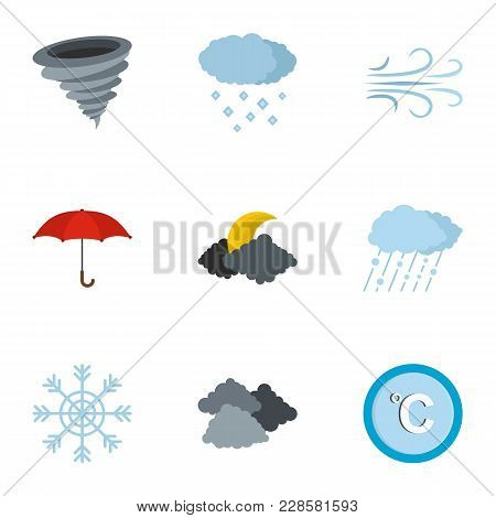 Meteorological Office Icons Set. Flat Set Of 9 Meteorological Office Icons For Web Isolated On White