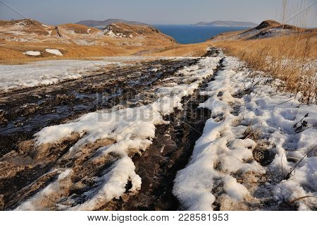 Melting Snow Road In Beautiful Valley In Spring, Spring Rural Road