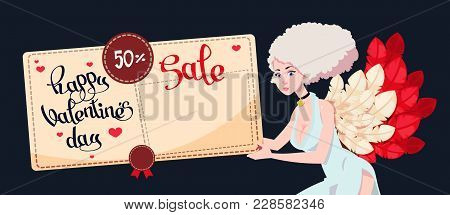Festive Greeting Card To The Day Of St. Valentine With A Sweet Girl Cupid. Discount Coupon For Shopp