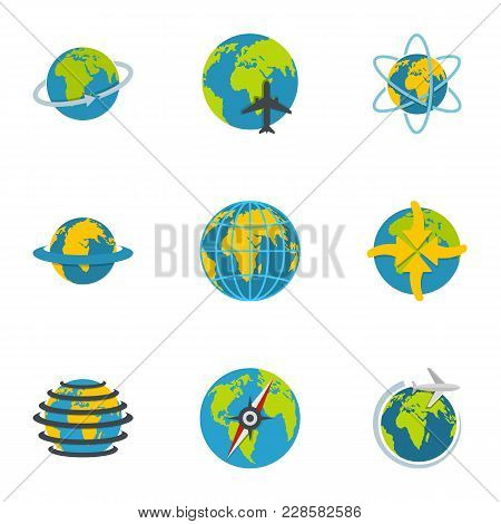 Terrestrial Globe Icons Set. Flat Set Of 9 Terrestrial Globe Vector Icons For Web Isolated On White