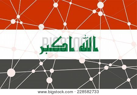 Flag Of The Iraq. Low Poly Concept Triangular Style. Molecule And Communication Background. Connecte