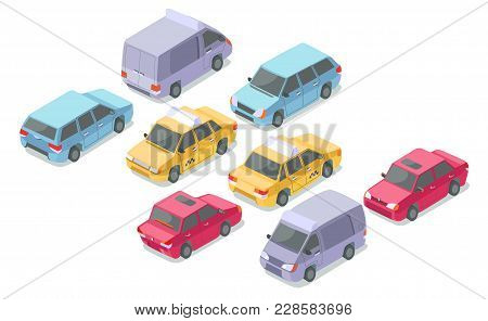 Isometric Cars Vector Illustration Isolated Icons Of Private Car, Taxi Or Armored Van And Delivery C