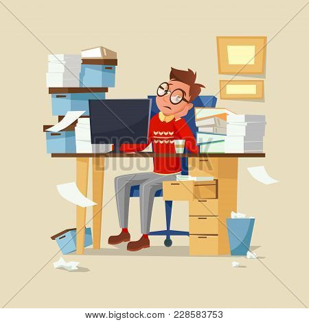 Office Manager Work Routine Vector Illustration. Tired Frustrated Man In Glasses Sitting On Chair At