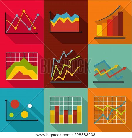 Economic Study Icons Set. Flat Set Of 9 Economic Study Vector Icons For Web Isolated On White Backgr