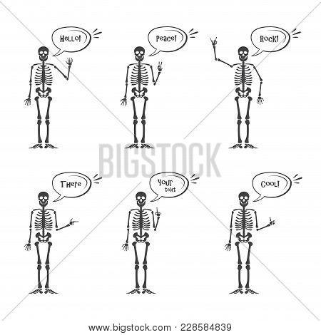 Skeleton Hand Gestures Set: Ok, Finger Up, Finger Down, Fist, Middle Finger, Rock N Roll Horns, Clap