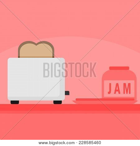 Kitchen Bread Toaster Home Appliances Scene Vector Illustration Graphic Design
