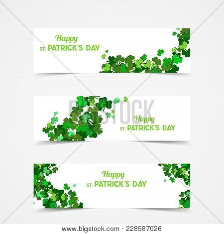 St Patrick's Day Vector Banners With Shamrock. Lucky Spring Symbol. Clover In Green Shades Isolated