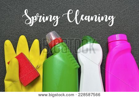 Spring Cleaning Concept.colorful Set Of Cleaning Supplies With Text.selective Focus.