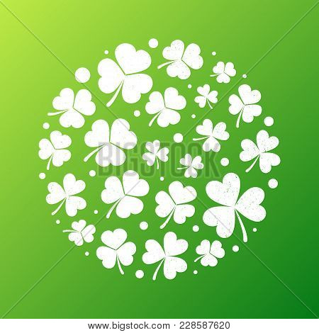Distressed Shamrock Round Shape Made With Small White Grunge Shamrocks On Green Background Vector Il