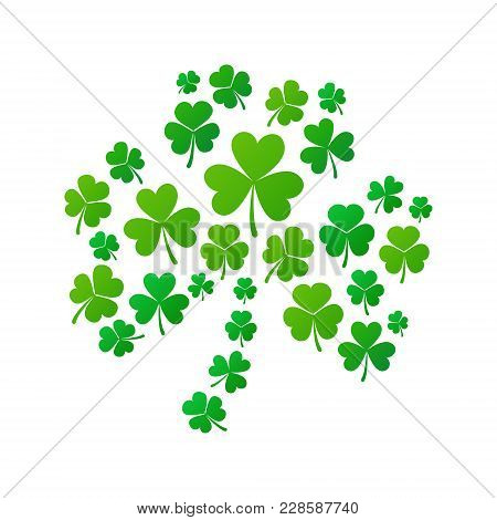 Shamrock Concept Illustration. Vector Shamrock Shape Made Of Small Shamrocks Icons On White Backgrou