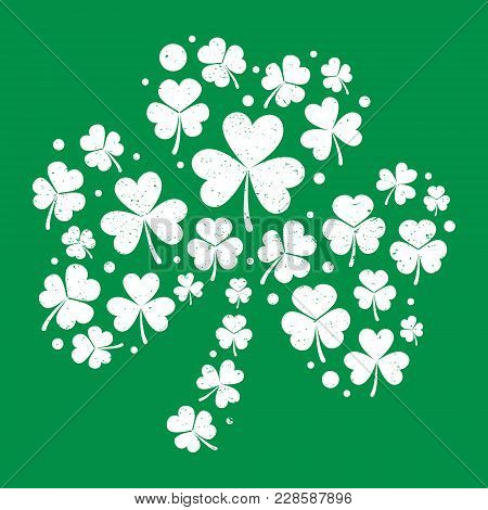 White Distressed Shamrock Shape Made With Small Shamrocks On Green Background Vector Illustration