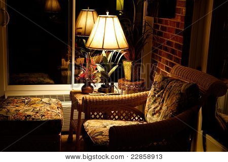 Comfortable Evening Chair & Ottoman At Night