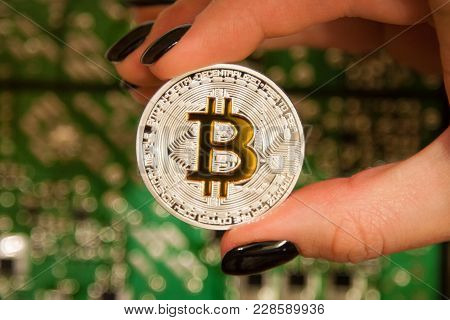 The Hand Holds A Silver Coin With A Gold Sign Of Bitcoin Against The Background Of Microcircuits And