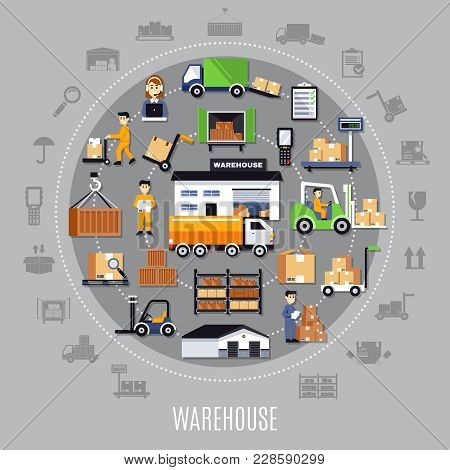 Warehouse Round Composition With Storage Building, Staff, Shelves With Goods, Transportation, Invent