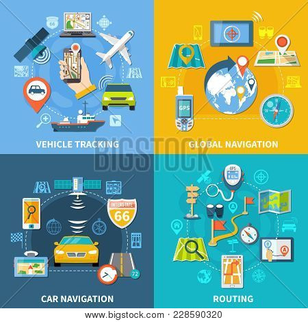 Navigation Design Concept With Four Compositions Flat Pictograms And Icons With Signboards Gps Satel