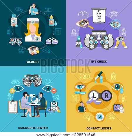 Oculist 4 Flat Icons Compositions Concept With Ophthalmology Diagnostic Center Vision Test And Corre