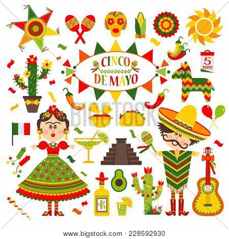 Cinco De Mayo Celebration In Mexico, Icons Set, Design Element, Flat Style.collection Objects For Ci