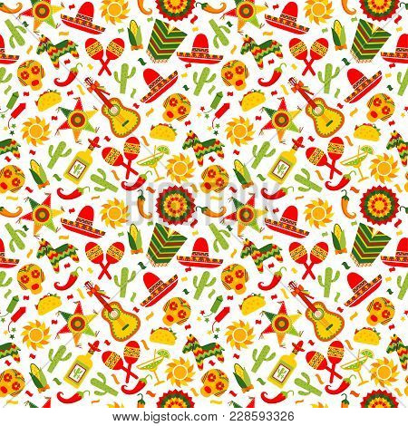Cinco De Mayo Celebration In Mexico, Seamless Pattern Ond Brown With, Food, Sambrero, Tequila, Cactu