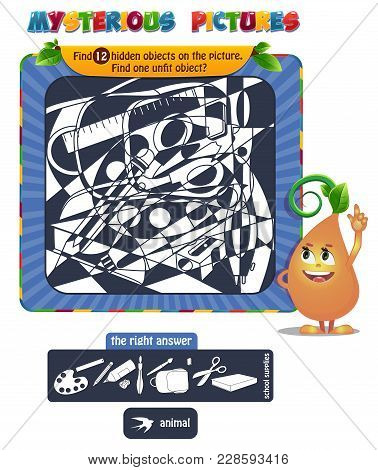 Educational Game For Kids, Puzzle. Development Of Logic, Iq. Task Game Find 12 Hidden Objects On The