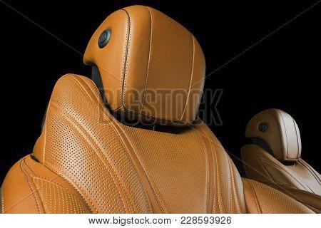Modern Luxury Car Inside. Interior Of Prestige Modern Car. Comfortable Orange Leather Seats. Brown P
