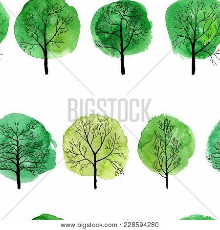 Vector Seamless Pattern With Deciduous Trees And Green Watercolor Foliage, Hand Drawn Natural Backgr