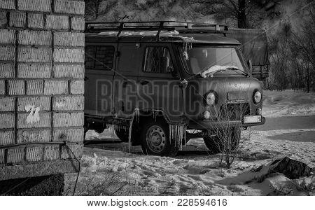Kazakhstan, Ust-kamenogorsk, February 26, 2018: Uaz 452 - All-wheel Drive Cargo-passenger Off-road V
