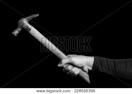 Bricklayer  Hammer- Tools In A Man's Hand - Black And White Photo