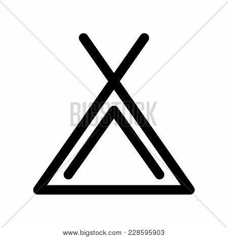 Camping Tent Icon. Symbol Of Campsite. Outline Modern Design Element. Simple Black Flat Vector Sign